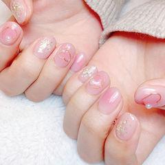 圆形粉色贝壳片腮红甲美甲图片