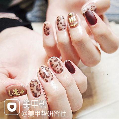 圆形棕色手绘豹纹磨砂金属饰品美甲图片