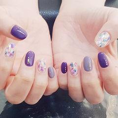 圆形紫色贝壳片美甲图片