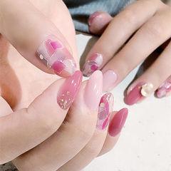 圆形粉色手绘几何日式美甲图片