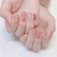 圆形粉色贝壳片美甲图片
