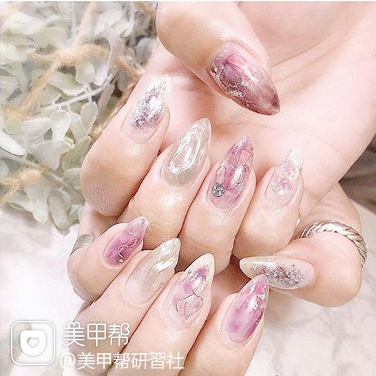 尖形粉色银色晕染水波纹日式美甲图片