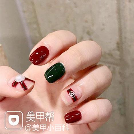 方圆形红色绿色Gucci美甲图片