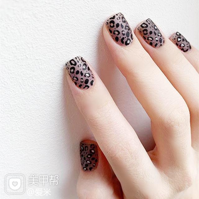 方圆形黑色灰色手绘豹纹美甲图片
