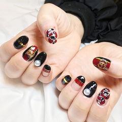 圆形黑色红色金银线珍珠平法式金属饰品Gucci美甲图片
