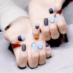 方圆形黑色蓝色包边磨砂美甲图片