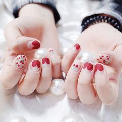 圆形红色手绘樱桃心形法式短指甲磨砂美甲图片