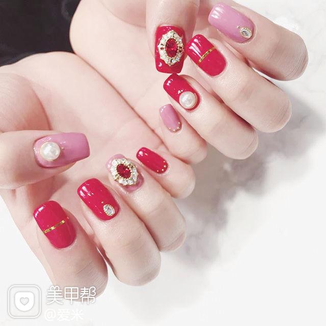 方圆形红色粉色金银线钻珍珠美甲图片