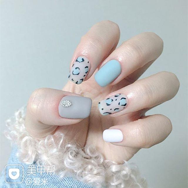 方圆形蓝色灰色手绘豹纹磨砂美甲图片