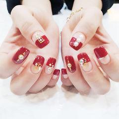 方圆形红色金银线钻平法式新娘美甲图片