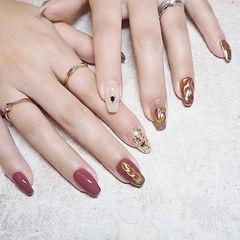 方圆形粉色玫瑰金金箔金属饰品日式美甲图片