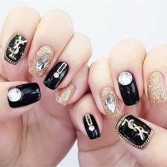 方圆形黑色金色钻金属饰品美甲图片