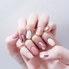 方圆形粉色白色晕染美甲图片