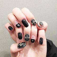方圆形黑色克罗心圆法式韩式美甲图片