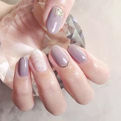 圆形香芋紫色花朵蕾丝珍珠简约上班族美甲图片