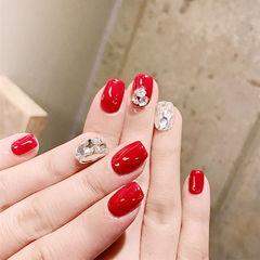 方圆形红色钻新娘美甲图片
