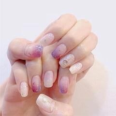方圆形粉色紫色白色晕染金属饰品美甲图片