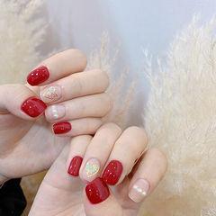 方圆形红色裸色珍珠心形美甲图片