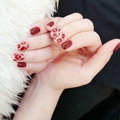 方圆形红色手绘豹纹美甲图片