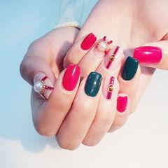 方圆形红色绿色珍珠Gucci美甲图片