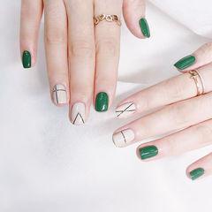 方圆形绿色白色线条美甲图片