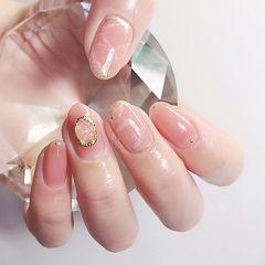 圆形粉色晕染金属饰品简约上班族美甲图片