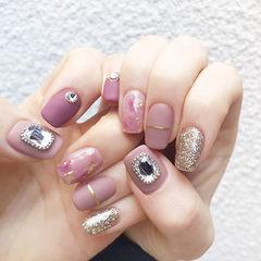 方圆形粉色银色钻晕染金箔磨砂美甲图片