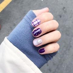 圆形紫色格子波点珍珠美甲图片