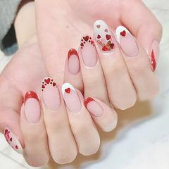 圆形红色白色法式心形亮片美甲图片