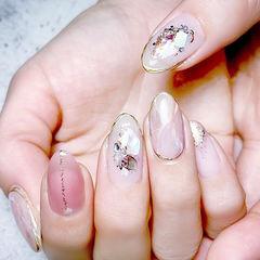 圆形粉色裸色晕染贝壳片日式美甲图片