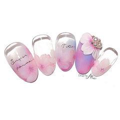 圆形粉色紫色手绘雕花珍珠日式美甲图片