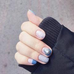 方圆形蓝色灰色平法式饰品磨砂美甲图片