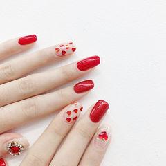 方圆形红色心形亮片新娘美甲图片