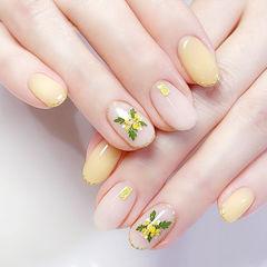 圆形黄色白色干花简约美甲图片
