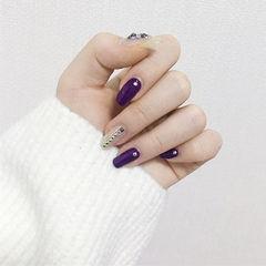 方圆形紫色裸色钻简约美甲图片