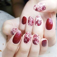 圆形红色手绘雕花日式新娘美甲图片
