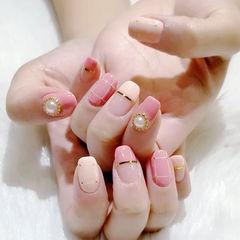 方圆形粉色裸色金银线珍珠平法式美甲图片