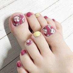脚部黄色粉色手绘花朵美甲图片