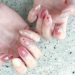 圆形粉色裸色干花贝壳片日式美甲图片