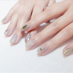 圆形白色贝壳片水波纹日式简约美甲图片