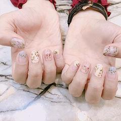 圆形白色香芋紫色手绘树叶圆法式春天短指甲美甲图片