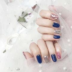 圆形蓝色银色玫瑰金镜面水波纹跳色美甲图片