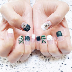 方圆形绿色白色平法式钻手绘树叶美甲图片