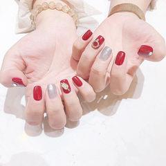 方圆形红色银色金属饰品跳色美甲图片