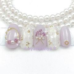 圆形香芋紫色贝壳片金箔金属饰品日式春天珍珠美甲图片