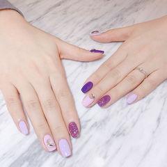 方圆形紫色跳色钻美甲图片