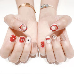 方圆形红色棕色白色手绘波点可爱美甲图片
