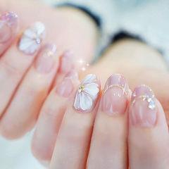 圆形粉色裸色白色手绘花朵法式日式春天美甲图片