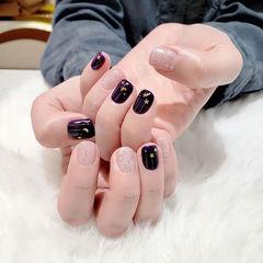 方圆形紫色银色亮片美甲图片