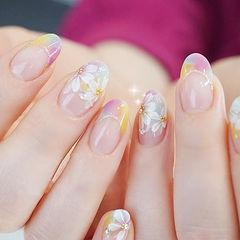 圆形粉色黄色手绘花朵法式日式春天美甲图片